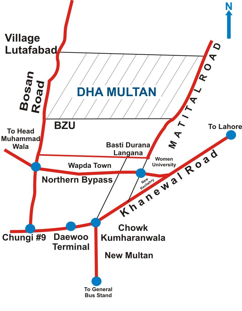 DHA Multan site map