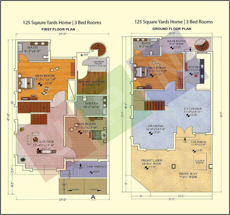 Bahria homes karachi ideal residence in bahria town karachi for 120 square yards floor plan