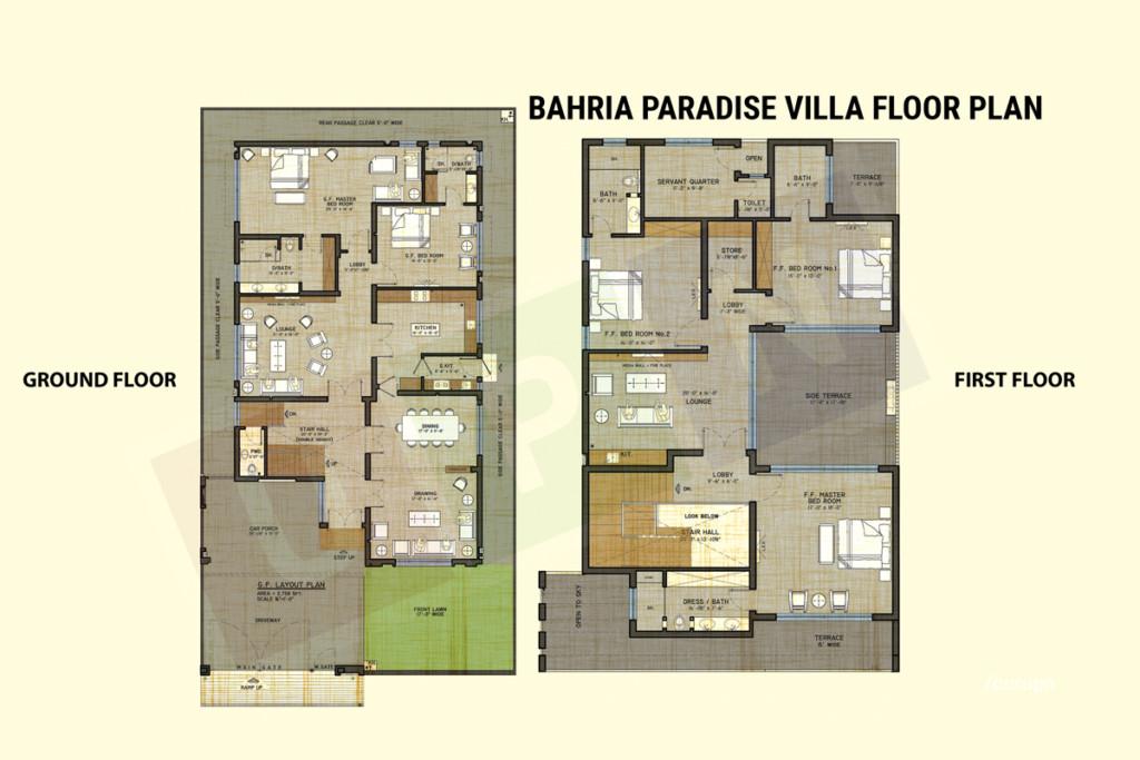 bahria paradise villa floor plan