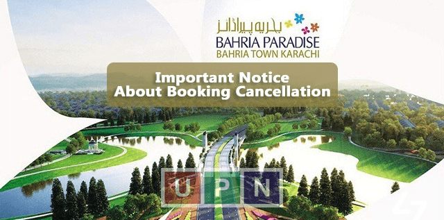 Bahria Paradise And Bahria Sports City – Notice for Booking Cancellation